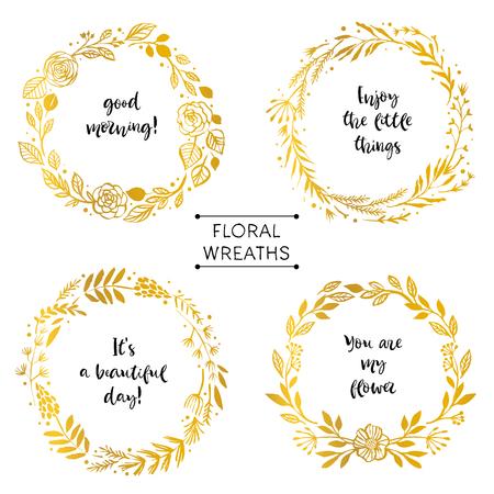 Ilustración de Gold flower wreaths card with inspirational quote. Hand drawn design elements. Handwritten modern lettering. Floral pattern vector illustration. - Imagen libre de derechos