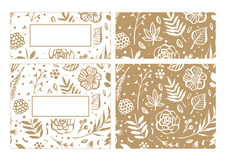Illustration for Flower frame template for wedding invitation and greeting card. Floral botanical collection. Flowers, branches, and leaves in nature pattern. Hand drawn design elements. Vector illustration. - Royalty Free Image