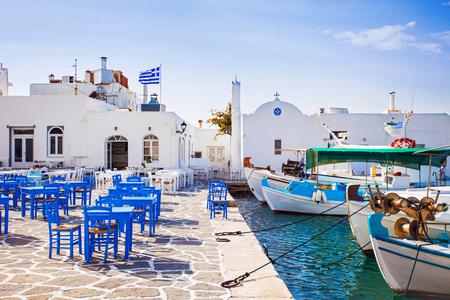 Photo for Greek fishing village in Paros, Naousa, Greece - Royalty Free Image