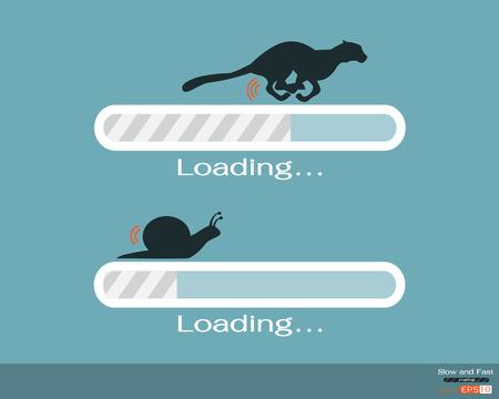 Ilustración de Fast and slow progress loading bar - Imagen libre de derechos