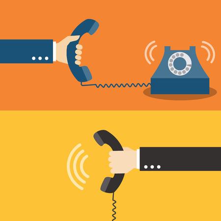 Illustration pour Hand holding telephone - image libre de droit