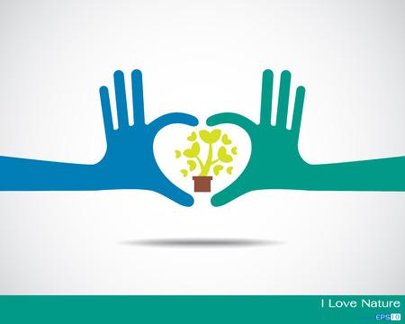 Illustration pour Tree inside heart made up of human hands Hands - image libre de droit
