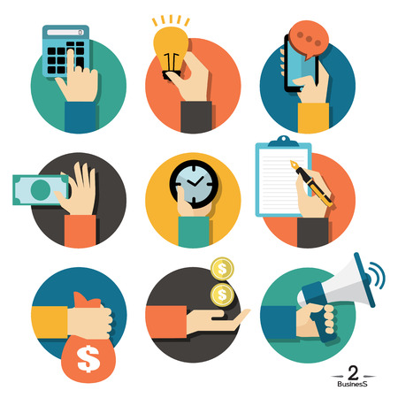 Illustration for Hands with business object icons set, Flat Design Vector illustration - Royalty Free Image