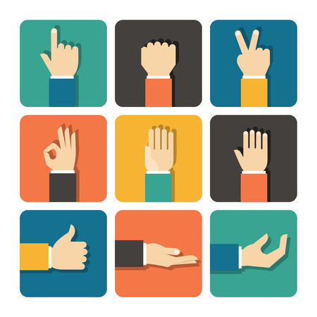 Illustration for Hands Icons Set, Flat Design Vector illustration - Royalty Free Image