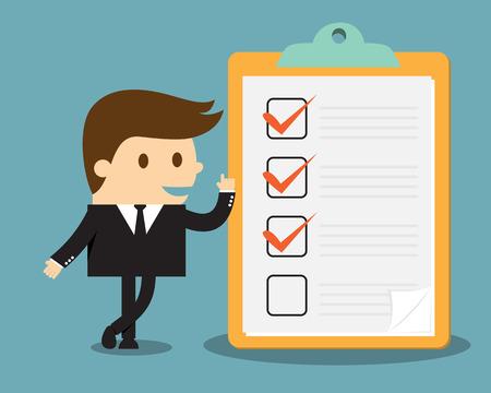 Illustration pour Businessman with clipboard and checklist - image libre de droit