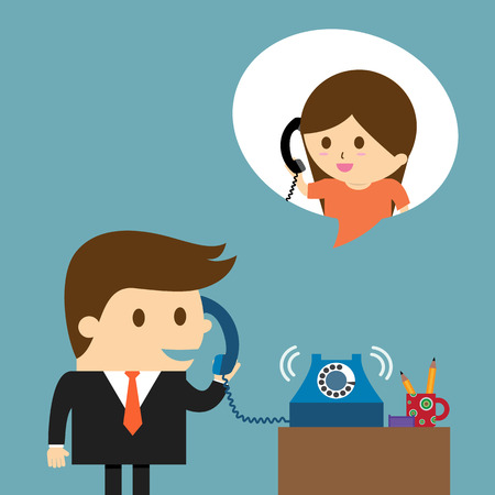 Illustration pour Businessman speaking into a telephone - image libre de droit