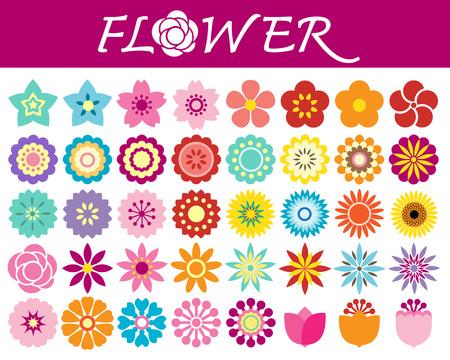 Ilustración de Set of colorful flowers icons in silhouette on white background - Imagen libre de derechos