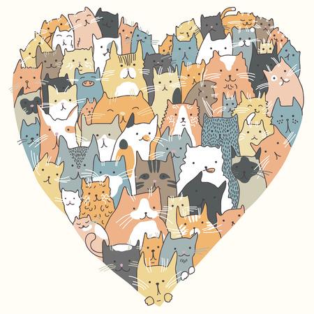Ilustración de Illustration of cats, seated in the form of heart - Imagen libre de derechos