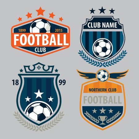 Ilustración de football badge logo template collection design,soccer team,vector illuatration - Imagen libre de derechos