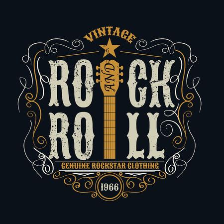 Illustration pour vintage rock and roll typograpic for t-shirt ,tee designe,poster,flyer,vector illustration - image libre de droit