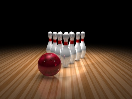 bowling ball and ten pins