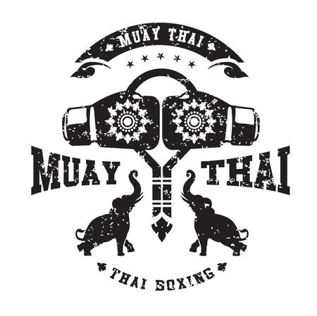 Ilustración de Muay thai club Vintage emblem, logo, sign, vector illustration - Imagen libre de derechos