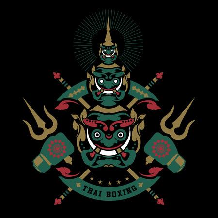 Ilustración de thai boxing club Vintage emblem, logo, sign, vector illustration - Imagen libre de derechos