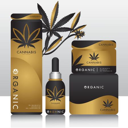 Illustration for Cannabis marijuana Packaging product label and icon graphic template - Royalty Free Image