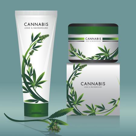 Ilustración de Cannabis marijuana Packaging product label and icon graphic template. - Imagen libre de derechos