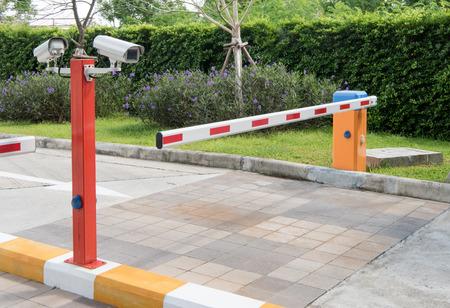 Foto de automatic barrier for home village security system with CCTV - Imagen libre de derechos