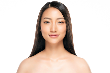 Photo for Beautiful Young asian Woman with Clean Fresh Skin look. Girl beauty face care. Facial treatment. Cosmetology, beauty and spa. - Royalty Free Image