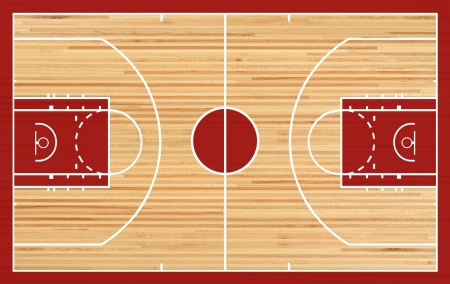 Basketball court floor plan on parquet background