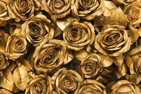 Photo pour Golden fabric roses background - image libre de droit