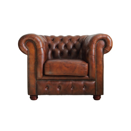 Classic Brown leather armchair isolated on white background.