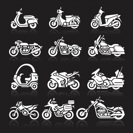 Motorcycle Icons set. Vector Illustration.