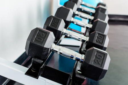 rows of dumbbells on a rack in a gym