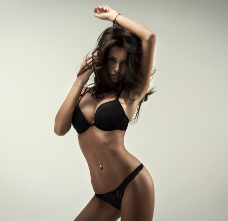 Photo for Beautiful brunette beauty in black underwear - Royalty Free Image