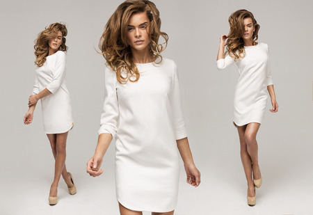 Foto de Three sexy woman in white dress - Imagen libre de derechos