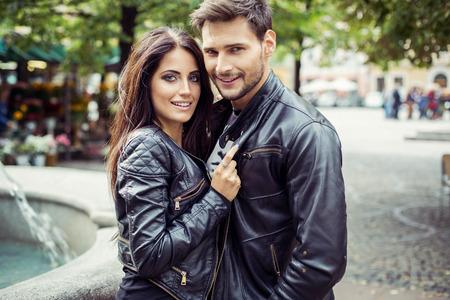 Foto de Portrait of attractive couple in leather jacket. Autumn photo - Imagen libre de derechos