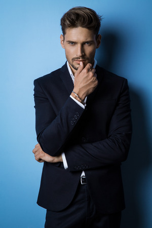 Photo for Handsome man wear black suit - Royalty Free Image