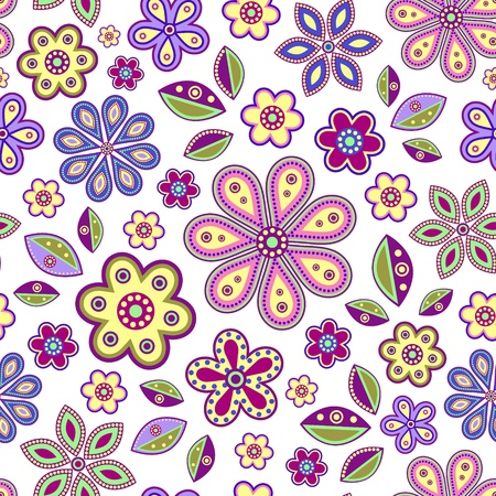 illustration of  seamless with colorful abstract flowers on white background