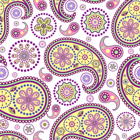 Photo pour illustration of seamless paisley pattern on white background - image libre de droit