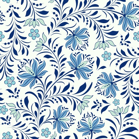 illustration of seamless pattern with abstract flowers.Floral background mural