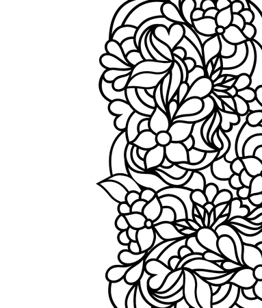 Illustration pour Vector illustration of hand drawn floral border on white background.Coloring page for children and adult. - image libre de droit