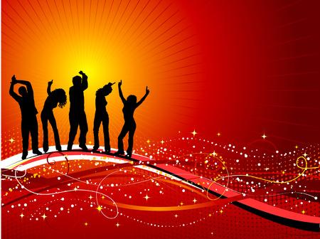 Illustration pour Silhouettes of people dancing on decorative background - image libre de droit