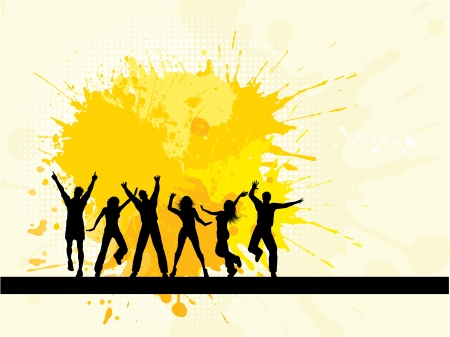 Silhouettes of people dancing on a grunge background