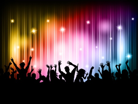 Silhouette of a party crowd on a colourful lights background