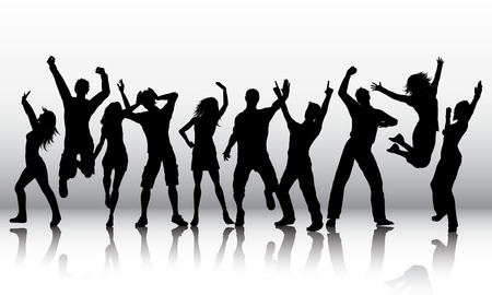 Photo for Silhouettes of a group of people dancing - Royalty Free Image