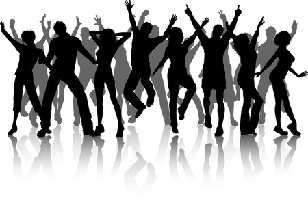 Photo for Silhouettes of lots of people dancing - Royalty Free Image