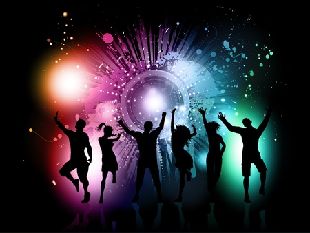 Photo for Silhouettes of people dancing on a colourful grunge background - Royalty Free Image