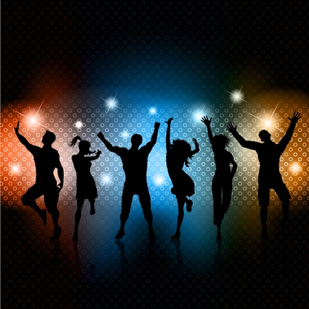 Photo for Silhouettes of people dancing on a glowing lights background - Royalty Free Image