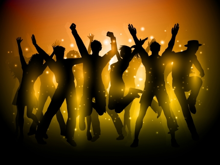 Photo for Silhouette of a group of party people dancing - Royalty Free Image