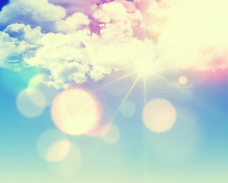 Photo for Sunny blue sky background with fluffy white clouds and retro effect added - Royalty Free Image