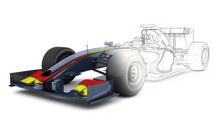 Foto de 3D Render of a Generic racing car with half in sketch preview - Imagen libre de derechos