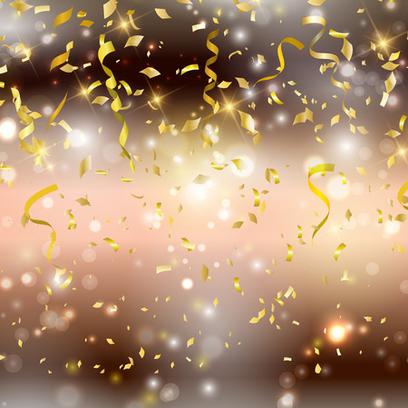 Photo for Gold background with confetti and streamers - Royalty Free Image