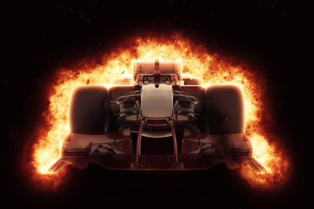 Photo pour 3D render of a race car with fiery explosion effect - image libre de droit