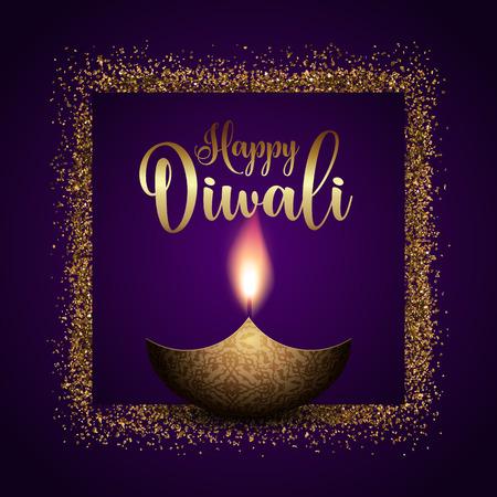 Foto de Happy Diwali background with gold glitter frame - Imagen libre de derechos