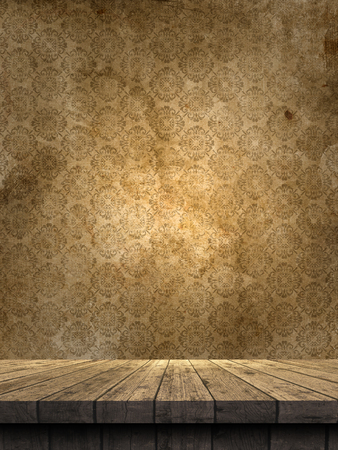 Photo for 3D render of a wooden table against a grunge damask style wallpaper - Royalty Free Image