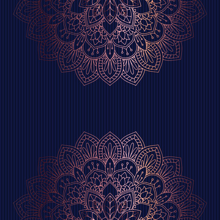 Photo for Decorative background with a rose gold mandala design - Royalty Free Image