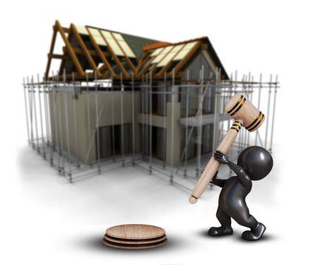 Foto de 3D render of a Morph Man with gavel against a defocussed house under construction image - Imagen libre de derechos